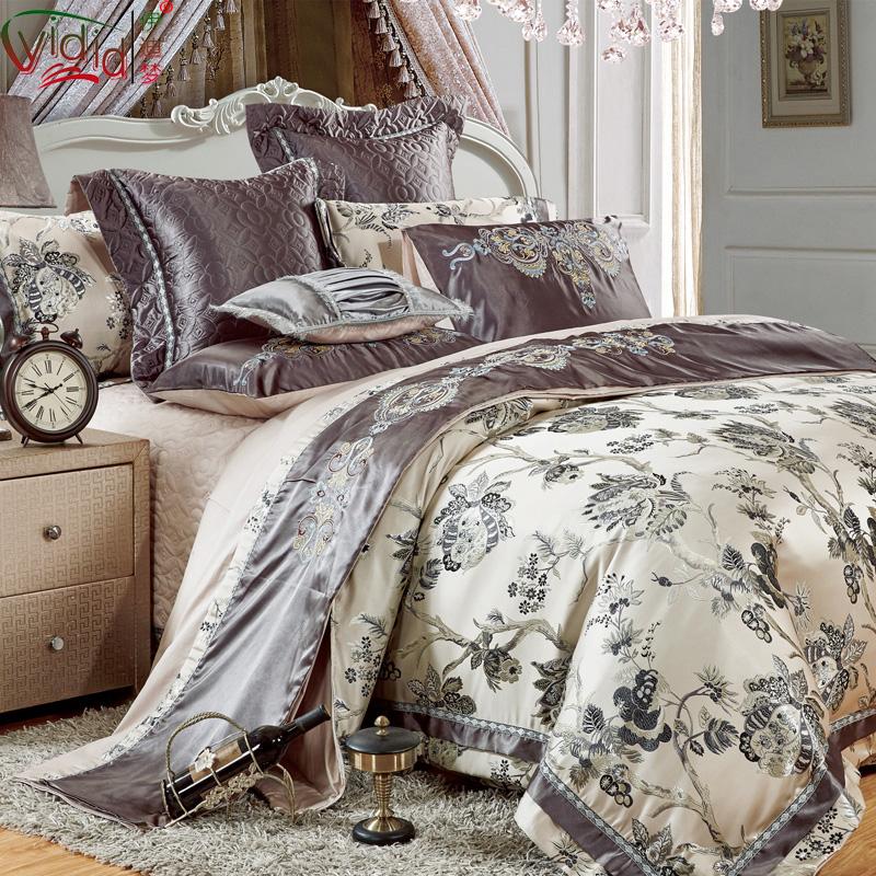 伊迪梦家纺欧式样板房多件套贡缎床单床盖式婚庆床品十件套ql17图片