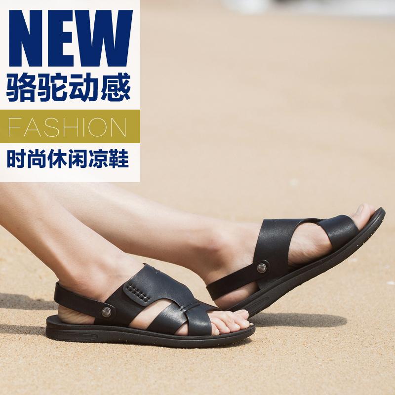 名牌男鞋多功能夏天凉鞋露趾 真皮沙滩鞋青年流行休闲凉拖两穿鞋