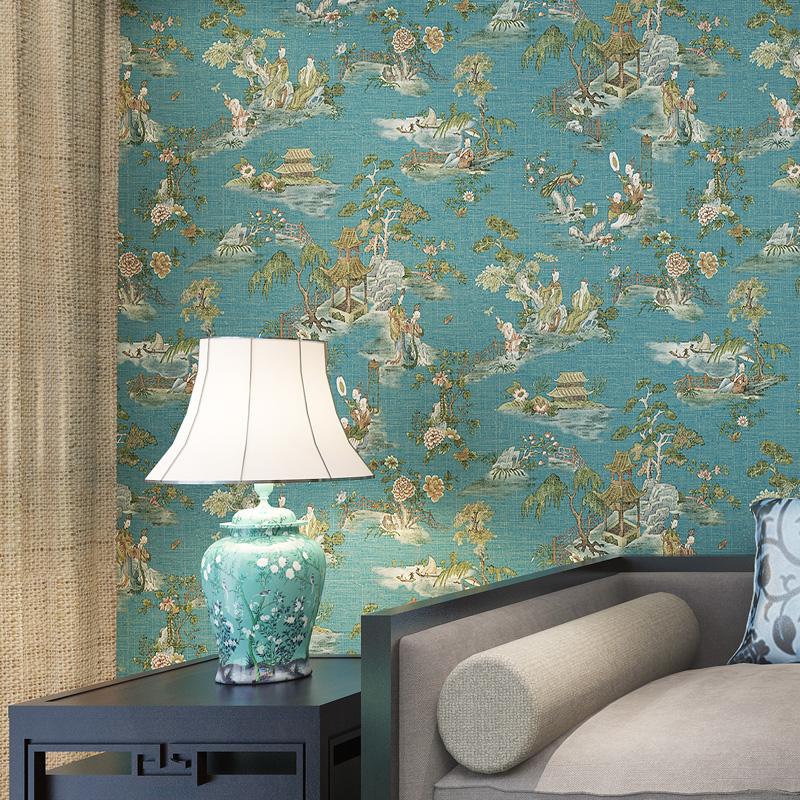 米冠新中式风格壁纸 古典山水画 老人卧室书房玄关背景无纺布墙纸