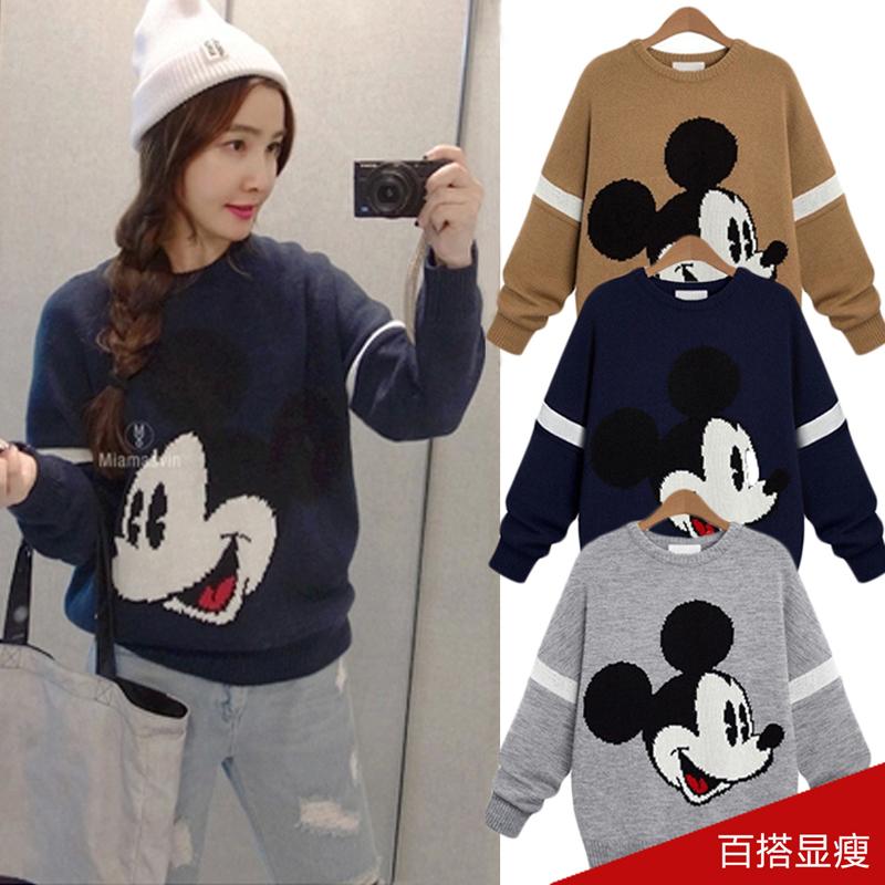 瑷珊2015秋冬季韩版新款圆领套头针织衫打底百搭修身毛衣女外套