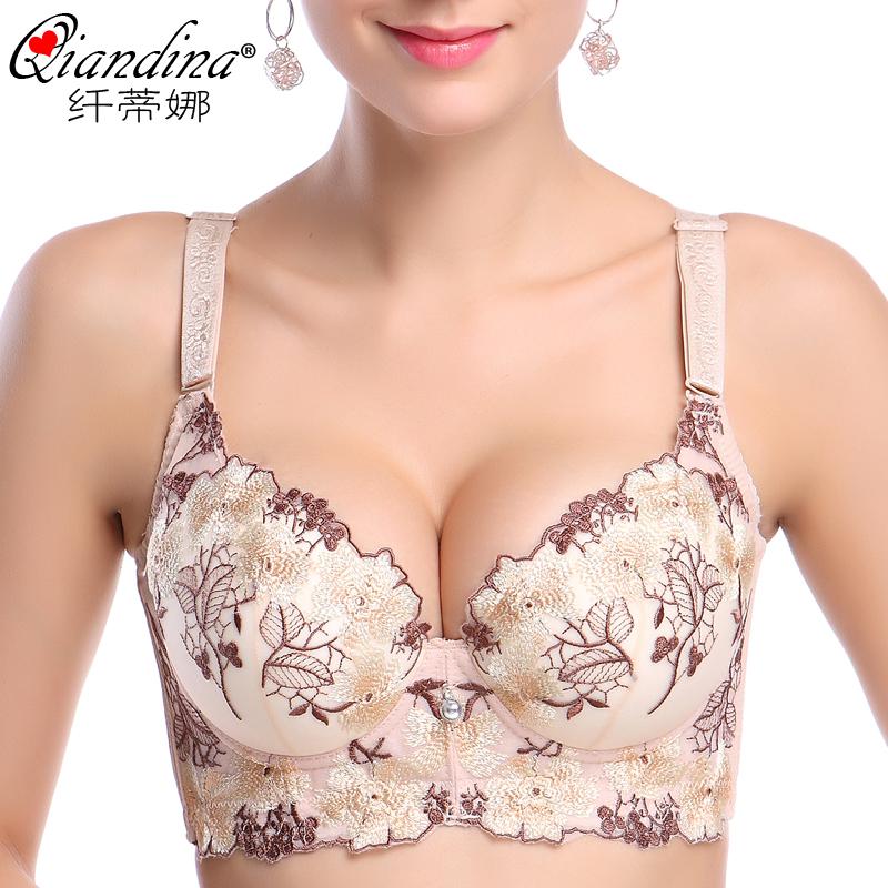 厚薄钢圈型收副乳聚拢文胸透气性感调整内衣小胸大刺绣