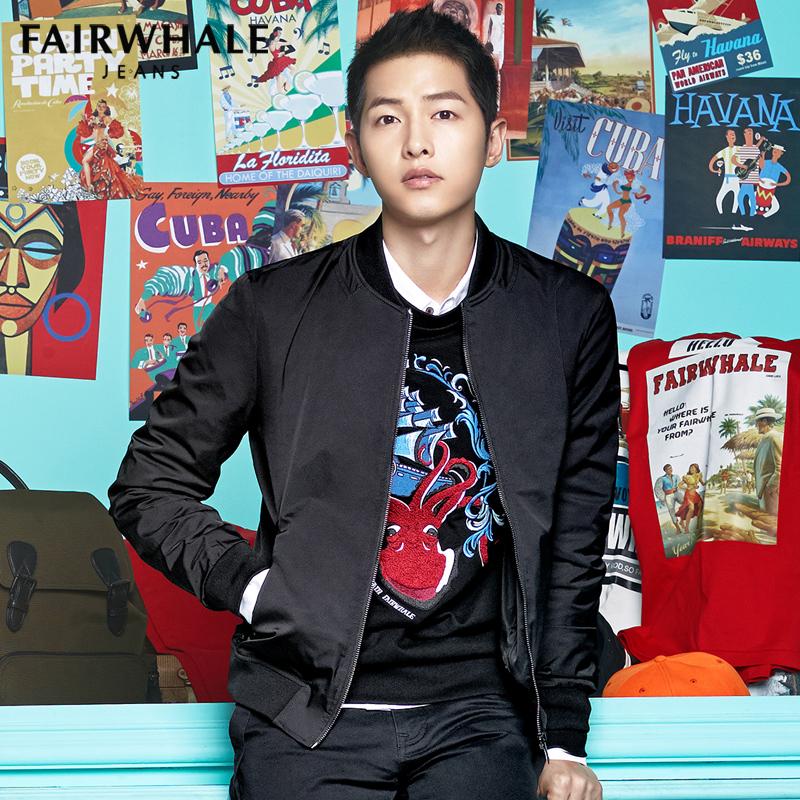 流韩版男士外套棒球修身夹克马克飞行员春潮