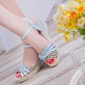 松糕厚底女学生鞋 防水台草编高跟鞋 新夏季女式坡跟凉鞋 蘑菇街时尚
