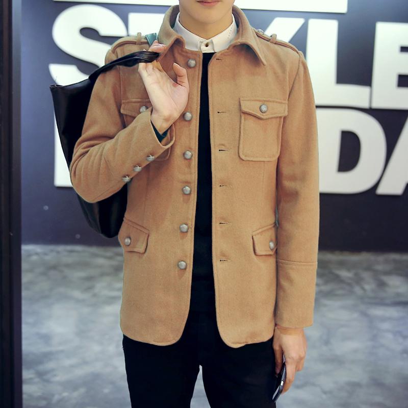 春季短款风衣男青少年学生韩版帅气毛呢外套男装修身型呢子夹克潮