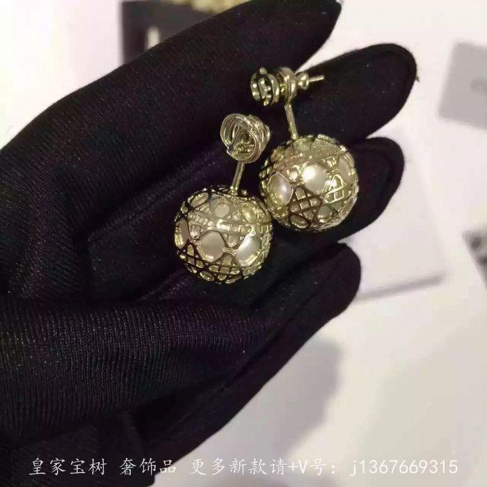 珠宝首饰 耳钉/耳环 新款藤格纹 金色镂空珍珠 经典时尚流行 饰品