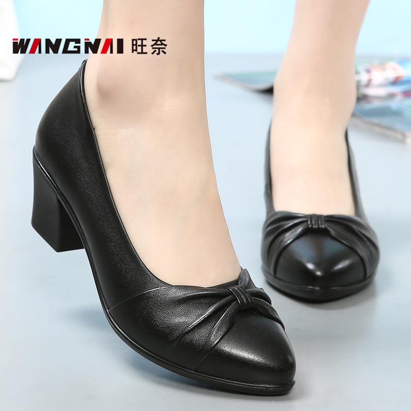 皮鞋中跟舒适大码浅口中年春季单鞋妈妈女鞋真皮中老年