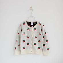 小A 2014新款童装女童秋装儿童韩版长袖樱桃针织衫毛衣开衫外套