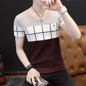 2017夏季新款男士短袖t恤男韩版修身V领半袖体恤学生潮流男装衣服