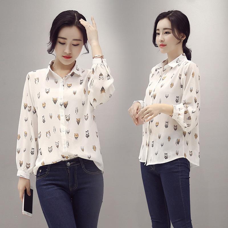2016休闲新款韩范衬衫女长袖修身百搭打底衫大码宽松简约上衣