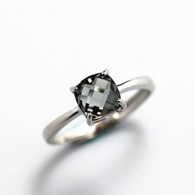 肥正方形灰白尖晶石戒指灰晶镶嵌纯银彩色宝石女士礼物活口可调节