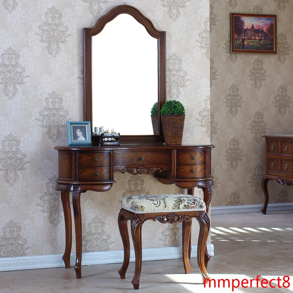 简约简易实木小户型欧式法式卧室梳妆台新古典化妆桌