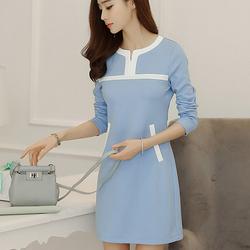 彩黛妃2016春装新款韩版女装大码修身显瘦收腰性感长袖连衣裙打底