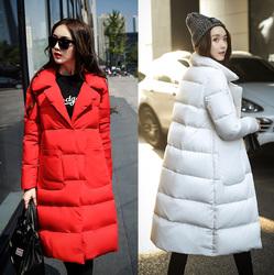 羽绒服女冬装2016新款大红色韩版加厚修身时尚韩国中长款鸭绒服