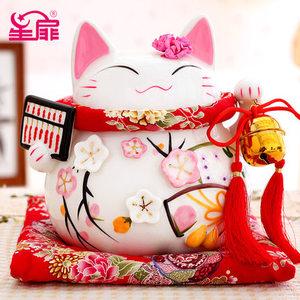 星扉招财猫大号招财猫储蓄罐日本开业陶瓷礼品金色创意招财猫摆件