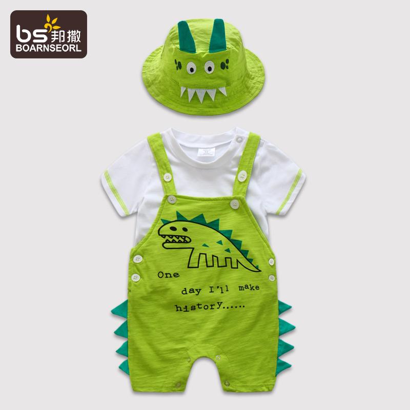 纯棉套装宝宝恐龙背带裤婴儿短袖外出童装