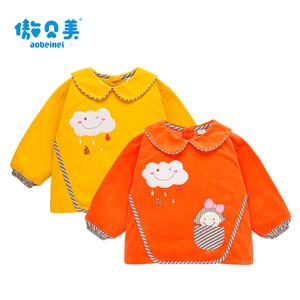 童装新款儿童防水罩衣反穿衣宝宝灯芯绒罩衣饭兜纯棉婴幼儿围裙