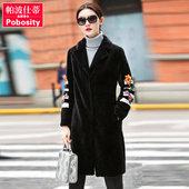 帕波仕蒂 2017新款海宁羊毛皮草外套女 修身超长款羊剪绒大衣AY