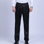 休闲高腰直筒松紧腰工作劳保皮裤 男士 春夏季中年防风防油耐脏皮裤