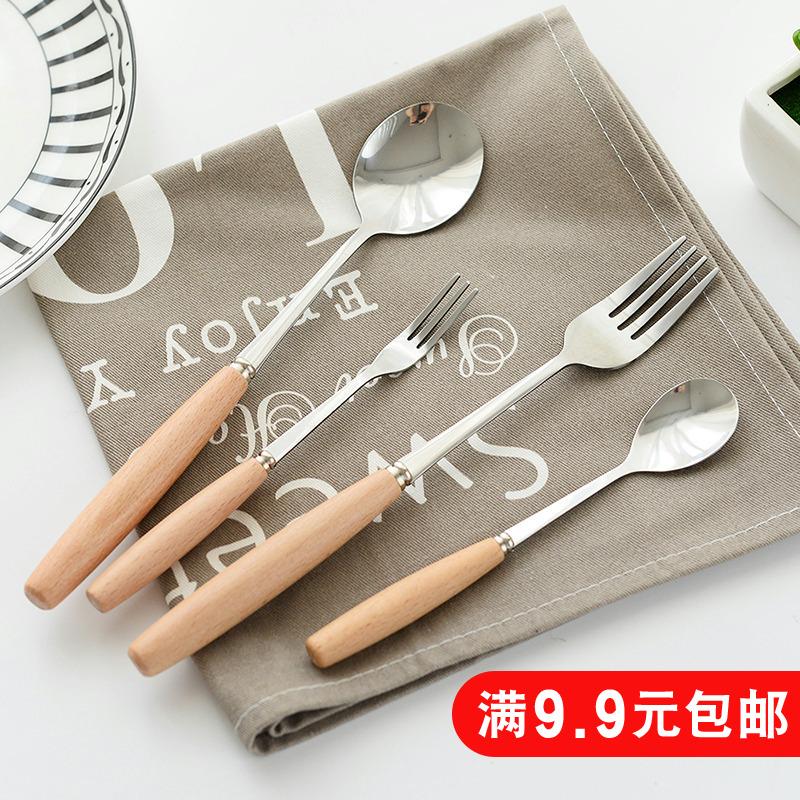 创意木质手柄不锈钢刀叉水果叉西餐牛排刀叉勺餐具木柄汤勺