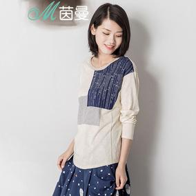 茵曼 女装秋装新款文艺范印花纯棉长袖T恤女上衣体恤衫186302327