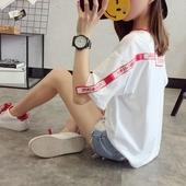 衣服体恤 韩版 t恤女2017新款 宽松学生百搭打底衫 夏装 夏季上衣短袖