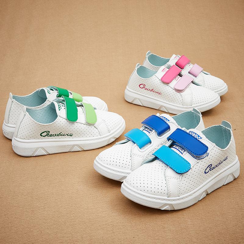 彩色运动鞋网鞋夏男童魔术女童透气休闲鞋 小白鞋板鞋儿童