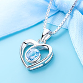 天然紫水晶心形纯银项链女锁骨链简约日韩国学生饰品吊坠生日礼物