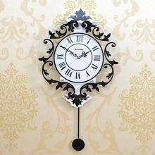 现代装饰欧式罗马静音摇摆挂钟时尚创意钟表客厅卧室挂表个性时钟