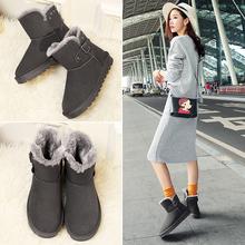 花花公子冬季短筒雪地靴女加绒棉鞋学生短靴2016新款韩版百搭女鞋图片