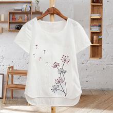 夏季女装体恤白色纯棉仿麻棉麻刺绣花半袖短袖纯色大码宽松t恤女