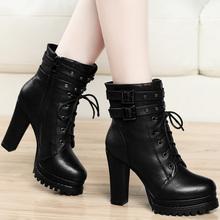 网红女靴粗跟马丁靴高跟短靴2019新款百搭瘦瘦靴女鞋子冬靴子皮鞋图片