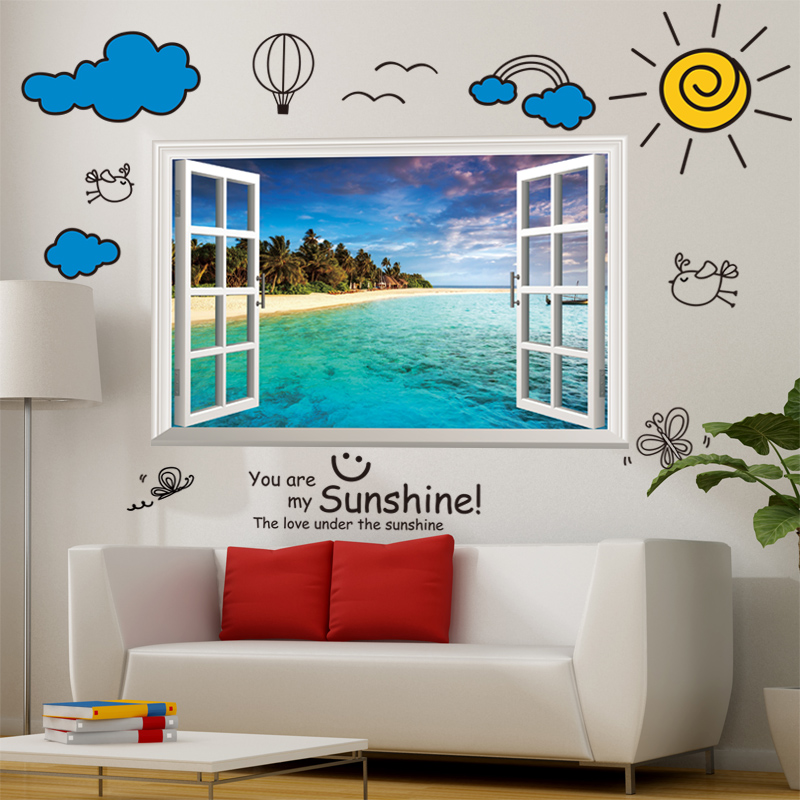 3d立体墙贴纸贴画卧室客厅自粘墙壁纸房间墙上装饰品创意假窗户