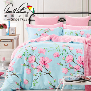 花雨伞家纺 纯棉美式床上四件套全棉1.8m床被套床单双人床上用品