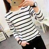 2017春秋韩版新款修身显瘦黑白条纹圆领长袖t恤女学生上衣打底衫