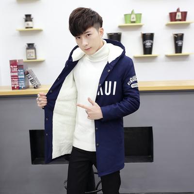 男士外套冬季加绒加厚中长款棉衣潮男学生连帽棉服韩版青少年棉袄