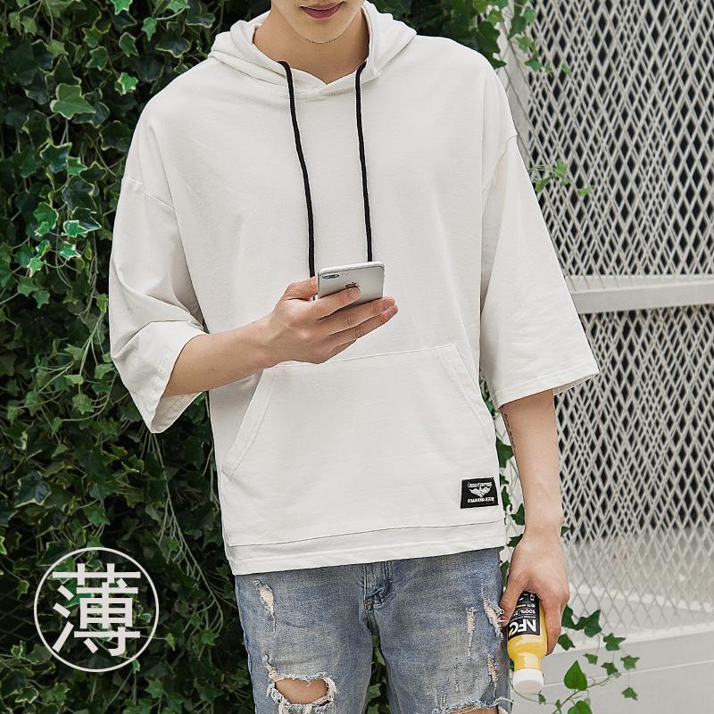 男士宽松袖韩版潮学生夏季七分袖带帽衫薄连帽卫衣短袖五分