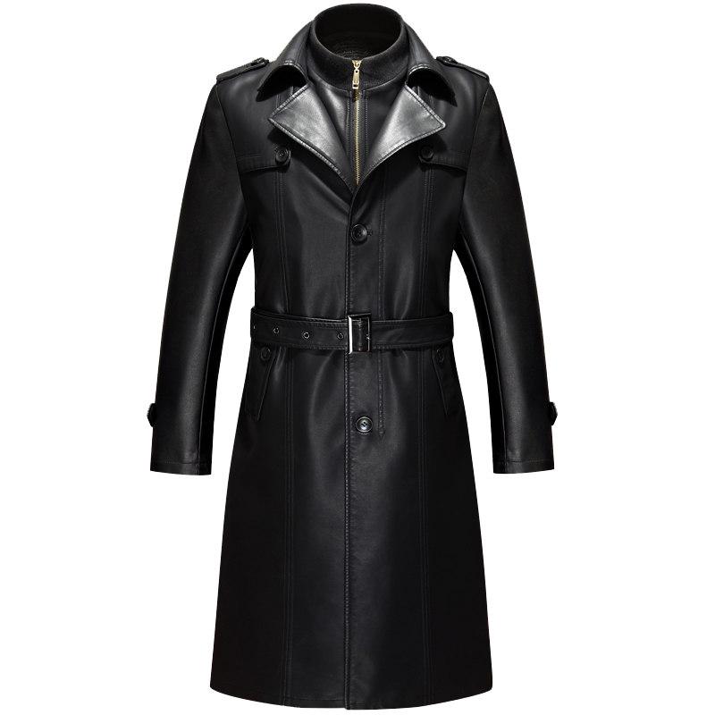 男装商务休闲皮风衣修身加绒皮衣中年加厚长款大码皮外套冬