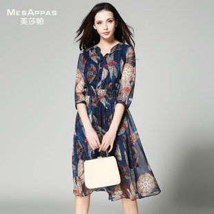 美莎帕2017品牌时尚优雅雪纺印花连衣裙女装拼接秋装半开领大摆裙