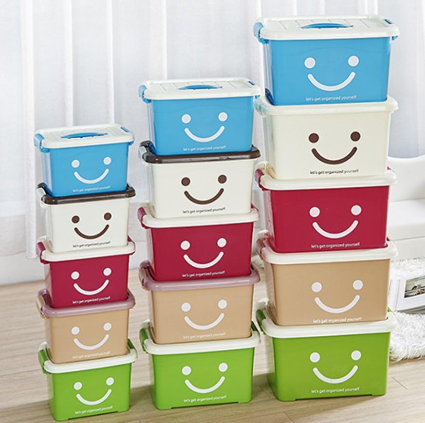 加厚箱子透明手提整理小号收纳大号盒子储物箱塑料