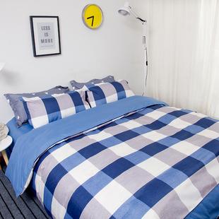 婷爱宜家床上用品四件套1.8m双人简约床单被套学生宿舍三件套1.5