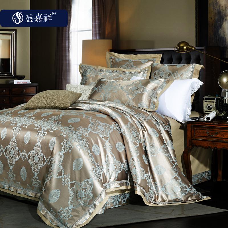 纯棉欧式贡缎提花床单四件套高档2米床品