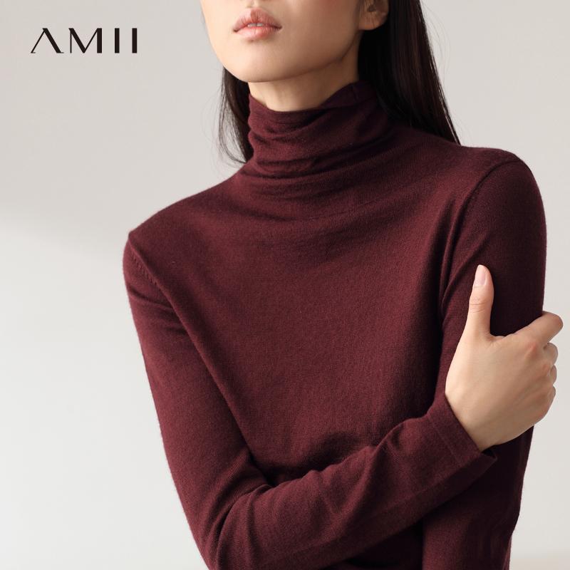 Amii[极简主义]春装新款修身套头黑色长袖打底针织衫高领毛衣女装