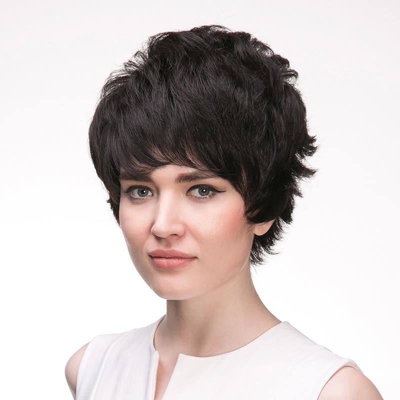 瑞贝卡假发女短发自然短卷发头套斜刘海中老年妈妈假发套整顶假发