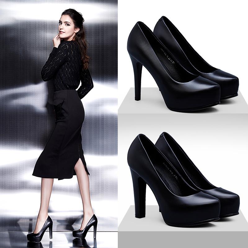 高跟鞋春秋黑色女鞋圆头粗职业防水真皮单鞋鞋子工作