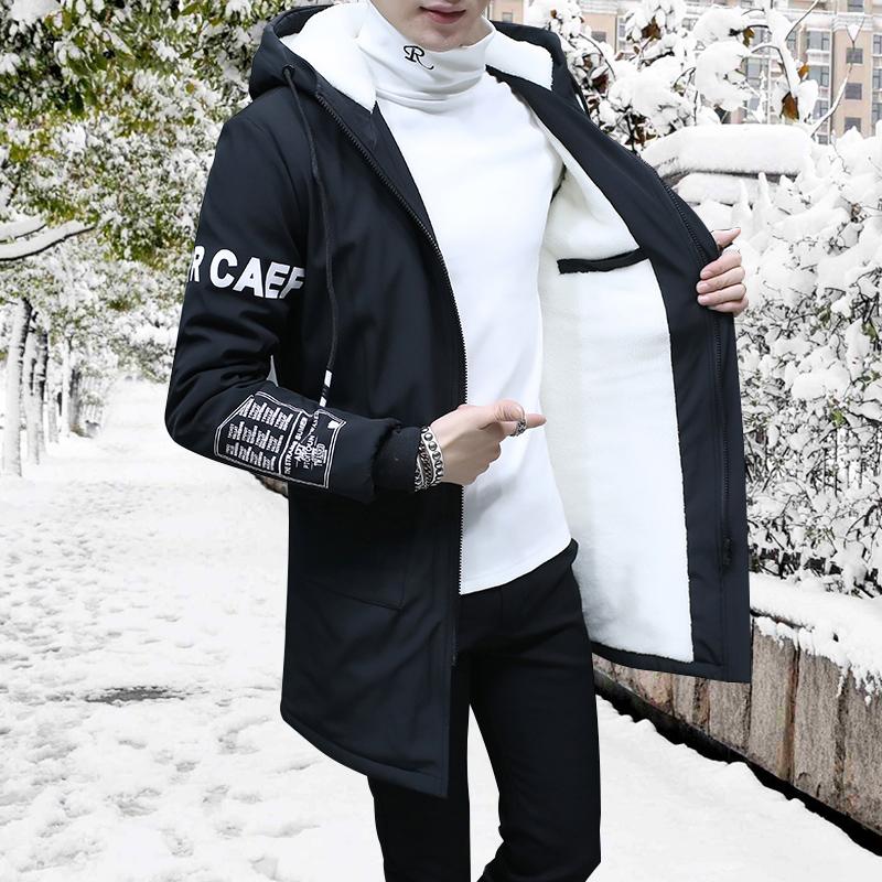 冬季2016新款加绒连帽外套学生青少年风衣潮流中长款男士夹克加厚