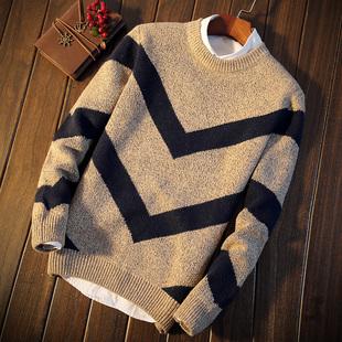 秋季男士韩版针织衫套头青少年加厚毛衣打底衫修身线衫学生男装潮