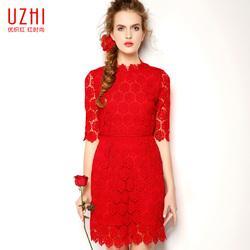 优织红色连衣裙2016春夏新款女装蕾丝结婚礼服修身新娘回门服中袖