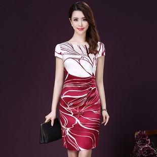 2017夏季新款褶皱修身显瘦优雅气质圆领女装短袖印花真丝连衣裙子
