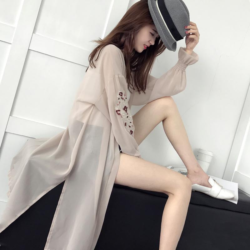 女裝長款夏季上衣雪紡衫女春韓版開衫防曬空調喇叭