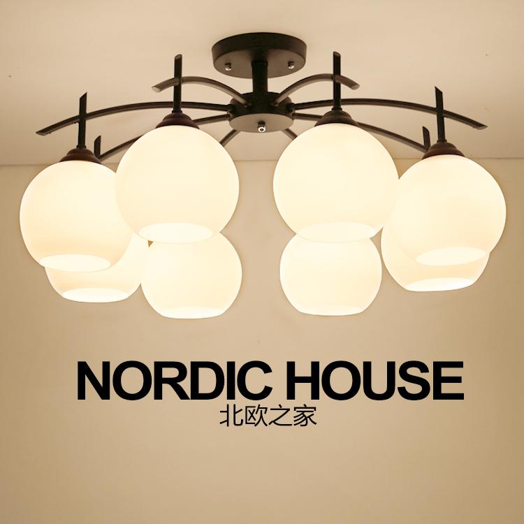 欧式led卧室吸顶灯客厅 北欧宜家灯具 美式简约餐厅玻璃铁艺灯饰